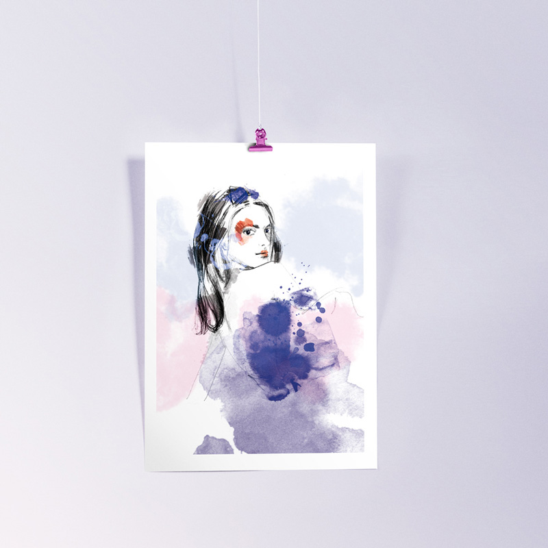 affiche portrait femme crayonné et aquarelle