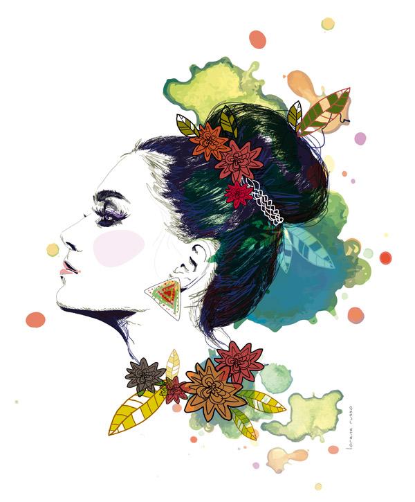 illustration femme chignon mode beauté de profil