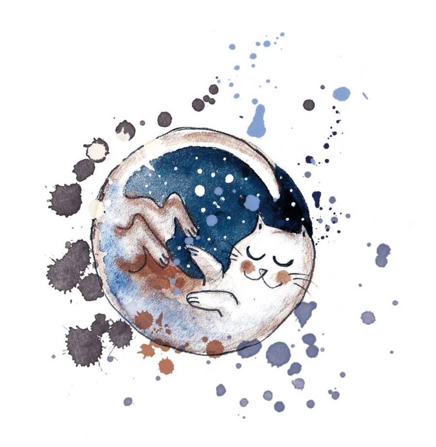 illustration chat lune à l'encre et à l'aquarelle