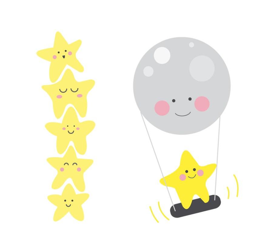 illustration petites étoiles et balançoire lune