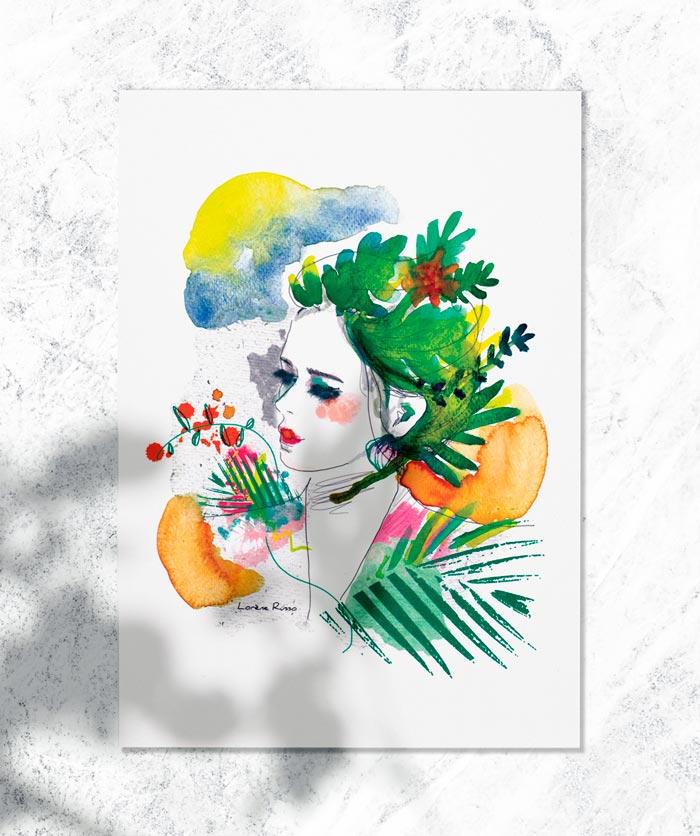 aquarelle exotique vegetale
