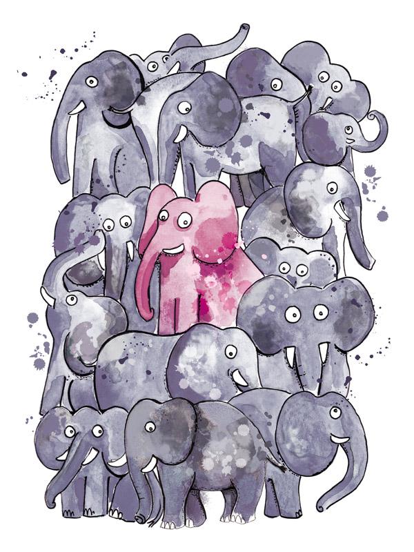 illustration troupeau elephants
