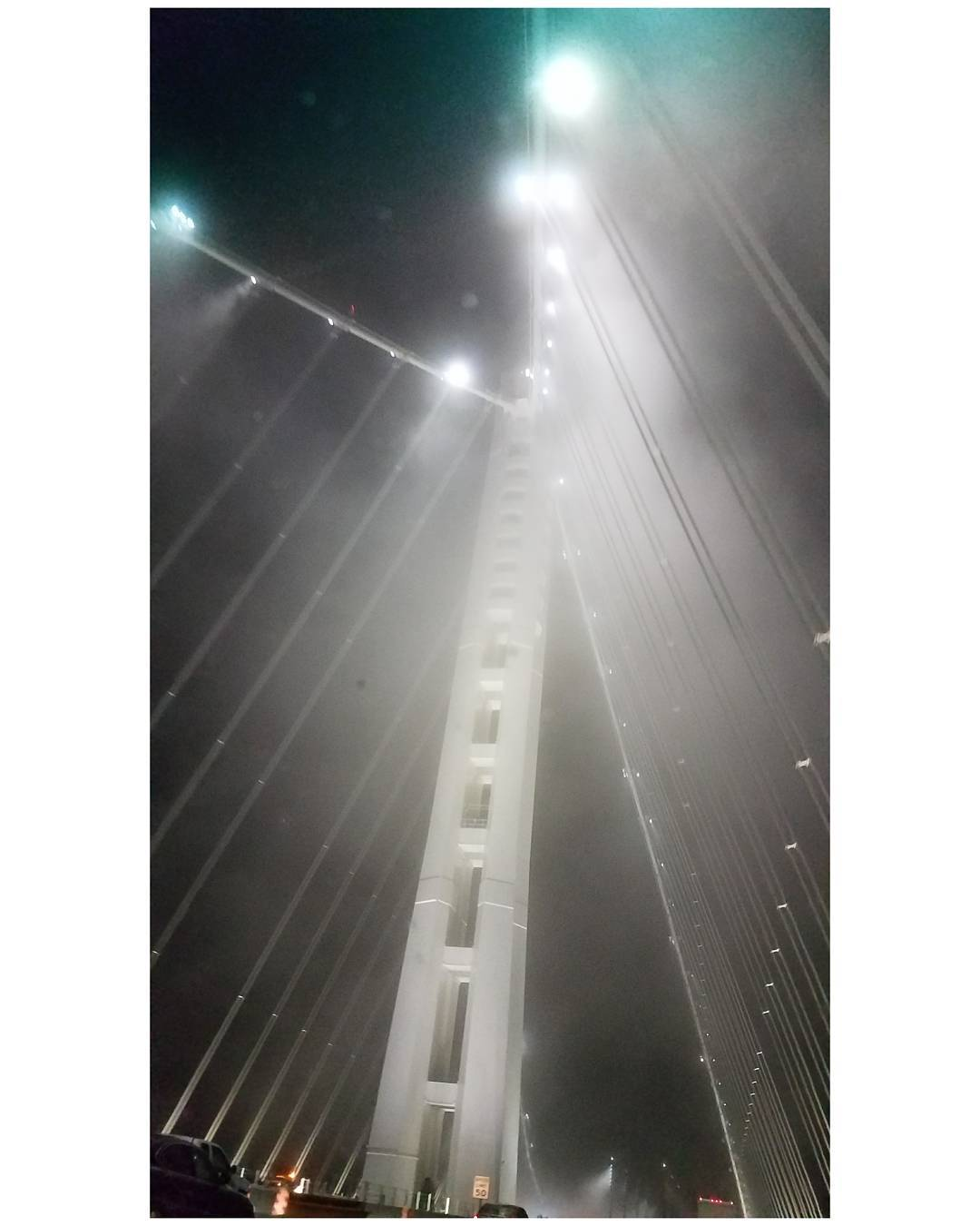 Beautiful misty drive over the Bay Bridge back to Oaklandhellip