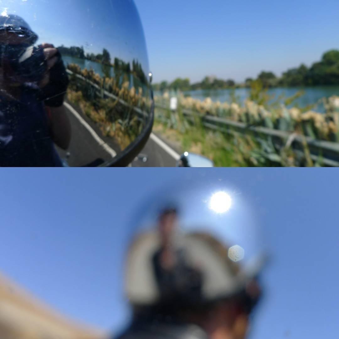 Sunday ridereflective helmet californiadelta sacramentoriver isleton walnutgrove harleypassenger motorcycle sundayridehellip