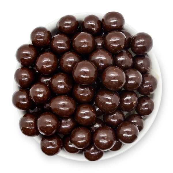 Dark-chocolate-malt-balls-bowl-top-view-www Lorentanuts Com Protein Punch