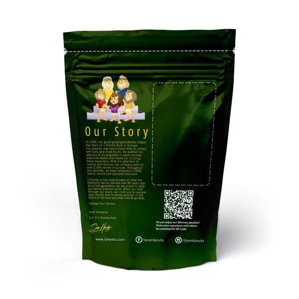 Green-metallic-bag-back-www Lorentanuts Com Chocolate Trailmix