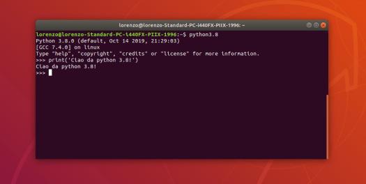 Python 3.8 installato