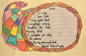 My son made me a Thanksgiving poster in school