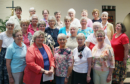 Standing in the front row, from left, are Frankie Foy Appleby, Janet Rabideau, Pat Patton Peterson, Teresa Skees Nusz and Jane Barry-Davis.  In the second row, from left, are Mary Margaret Murphy, Regina Drey, Gina Book, Martha Lane, Mary McAuliffe and Rose Marie Haberstroh Elson.  In the third row, from left, are Mary Ann DeBaggio Lovett, Mary Bundy, Kathleen Ryan Tucker, Mary Louise Denny and Kathryn Kahalley Cariglino.  In the back row, from left, are Cathy Mueller, Mary Ann Manger Benner, Mary Catherine Rabbitt, Barbara Roche, Mary Elaine Brennan Lubeley, Laurel Bryant Padgett and Barbara Mecker.  Missing from the photo is Martha McNamara.  Also not shown is Pam Solo, a member of the reception class of 1965, who was unable to attend. (Photo by Peg Jacobs)