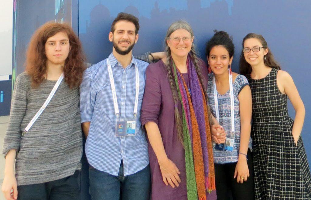 From left, Writers' Workshop participants and facilitators Mohamad, Ali, Theresa Kubasak, Wafaa Abu Elula and Teresa Blumenstein pose outside the World Humanitarian Summit in Istanbul. (Photo courtesy of Theresa Kubasak)