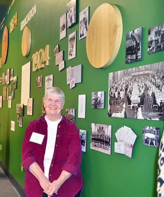 Loretto Archivist Eleanor Craig attends the March 7 library dedication. She helped to gather Loretto artifacts for the display. (Photo by Jean M. Schildz)