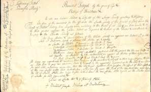 Photo of old document - list of Superiors handwritten by Fr. Charles Nerinckx