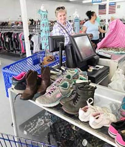 Judith Powers shops for refugees. (Photo courtesy of Vivian Doremus)