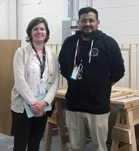 From left are Colorado High School Charter Principal Jackie Coppola and the charter school's construction instructor Miguel Rivera. (Photo by Mary Helen Sandoval)