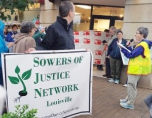 Pat Geier SL protests with Sowers of Justice