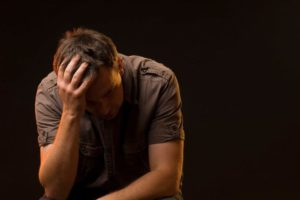 depressed man needs the relief from treatment with IV ketamine + neuroplasticity