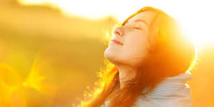 Woman at peace feeling relief after treatment bipolar disorder : IV ketamine gives her balance.