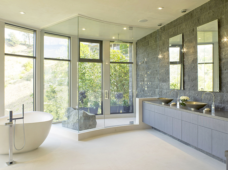 lori dennis hollywood hills modern bathroom natural stone shower and layered lighting