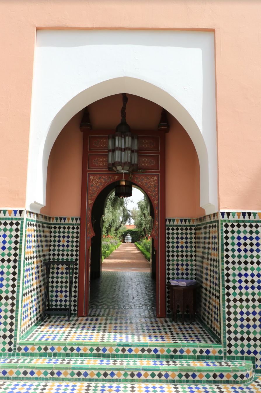 Gorgeous doorway with geometric tile in Marrakech