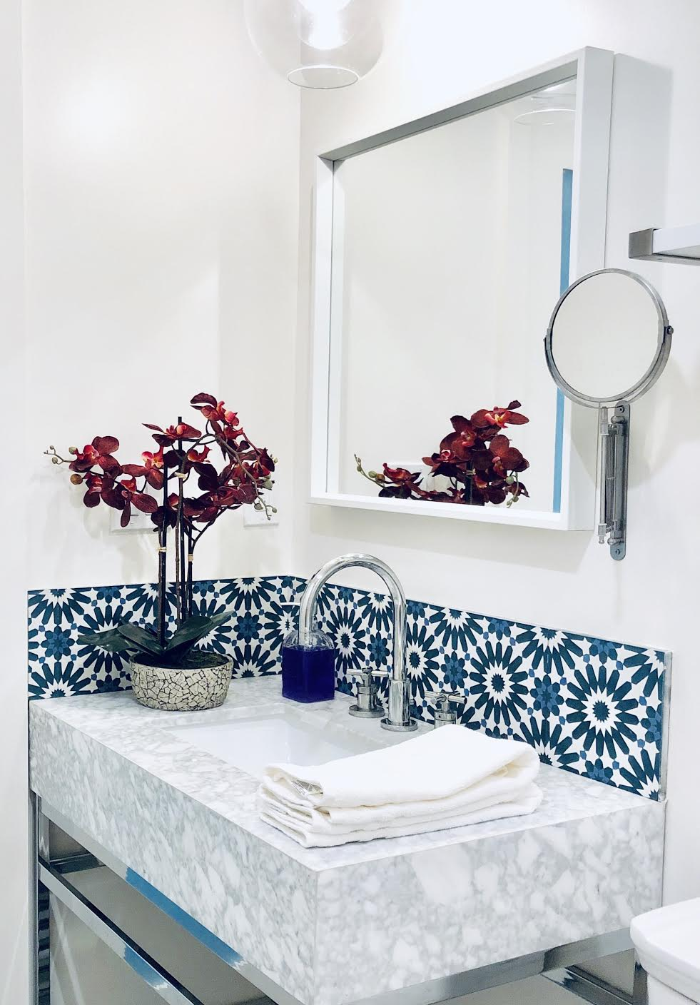 Villa Lagoon tile in small sized powder room