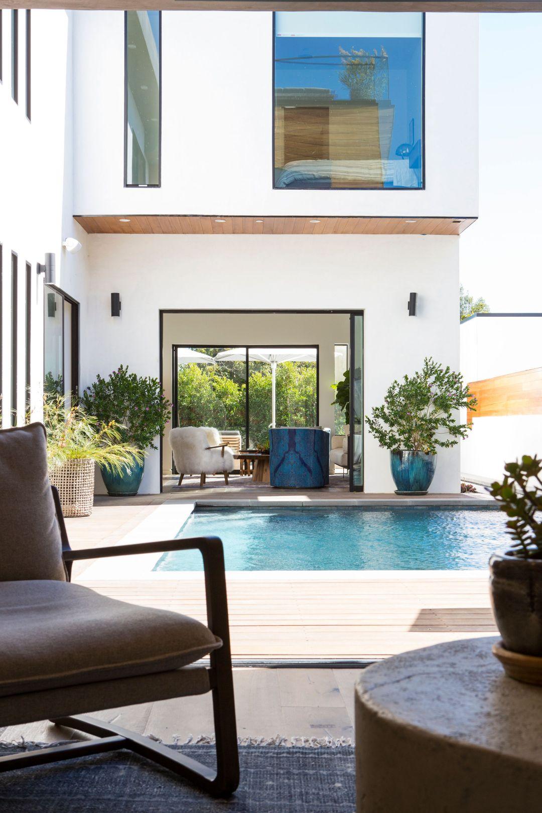 poolside of modern venice beach zen home designed by Lori Dennis