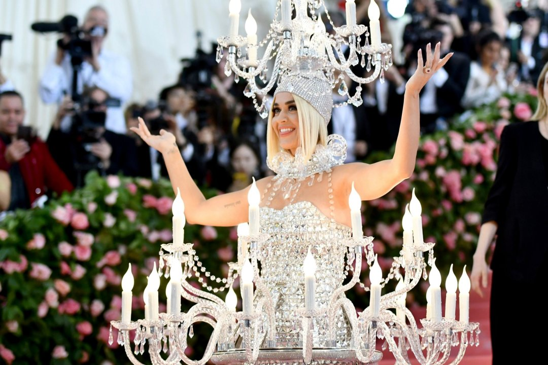 katy perry chandelier dress on the met gala red carpet camp and campiness