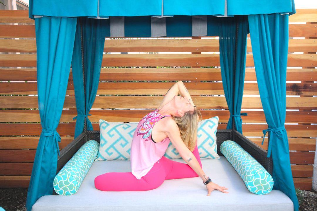 outdoor yoga on meditation bed