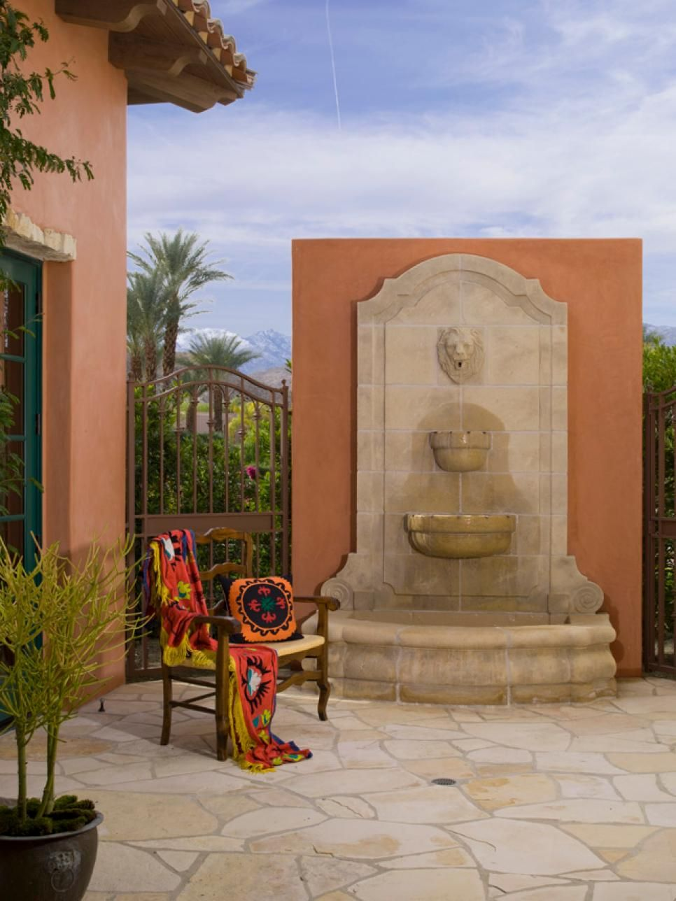 Curves and water feature in Spanish Style home