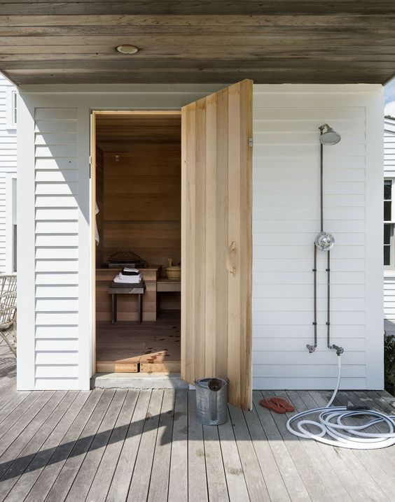 Outdoor Custom Home Sauna Design