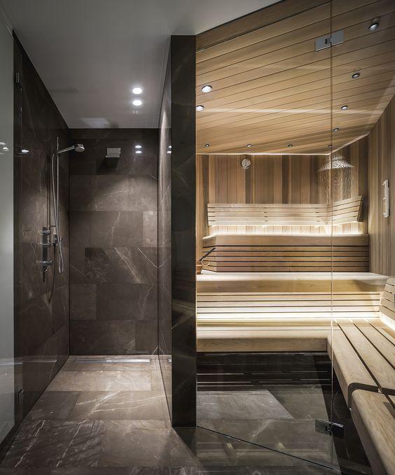 Custom Home Sauna Design with Shower
