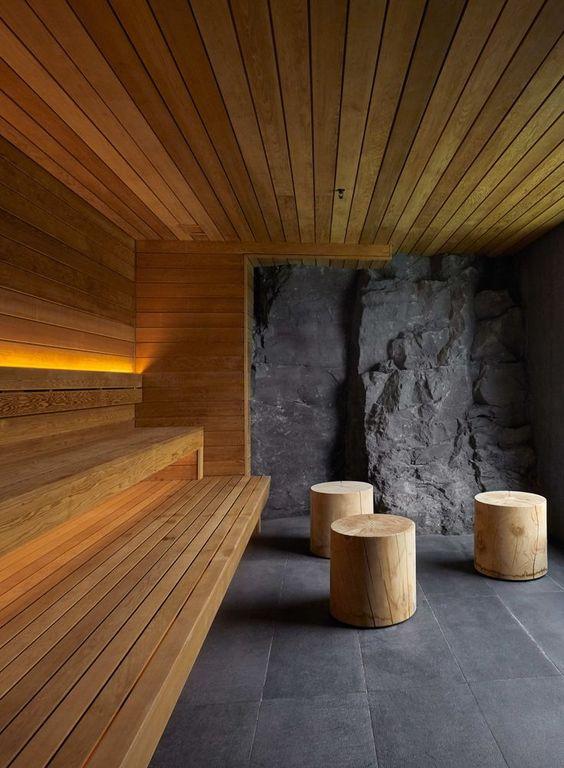 Custom Home Sauna Design Using Wood and Stone