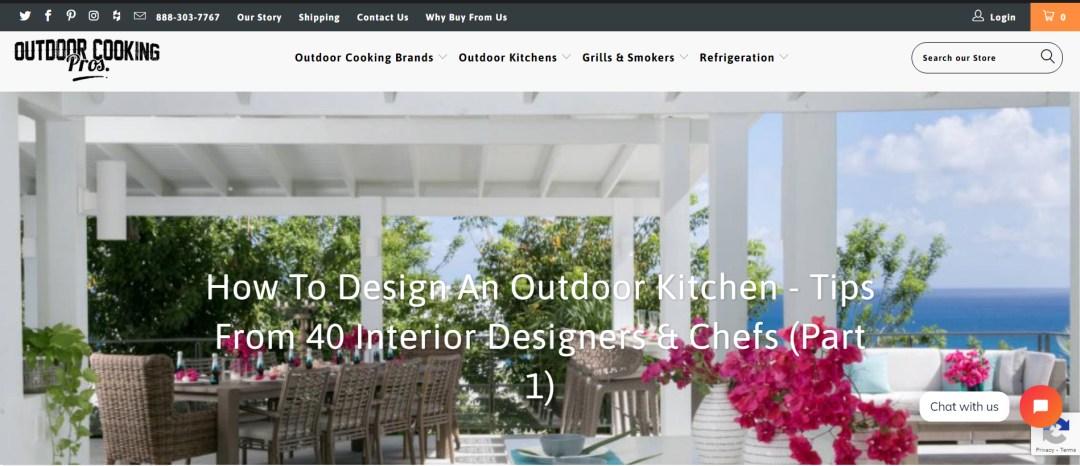 Outdoor Cooking Pros Website Screenshot