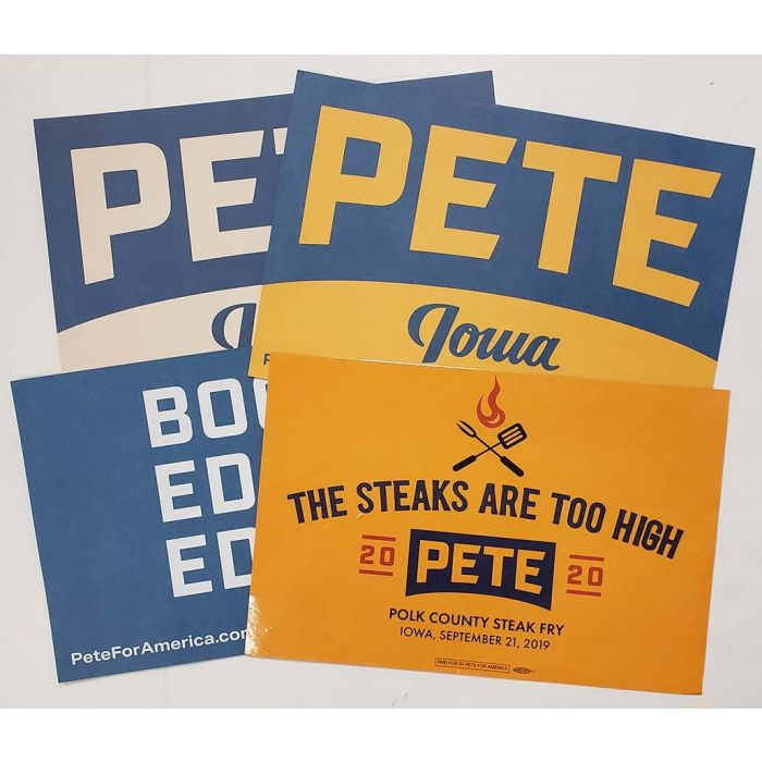 pete buttigieg for president 2020 campaign rally sign poster set of 4
