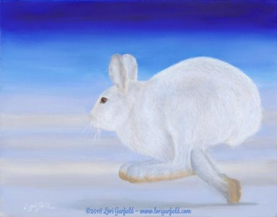 """Paintings by Lori Garfield : Arctic Hare, 14"""" x 11"""" Original Oil Painting of an arctic hare running on snow with a bright blue sky by artist Lori Garfield, Medford Oregon"""