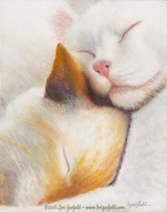 """Paintings by Lori Garfield : Best Friends, 8"""" x 10"""" Original Oil Painting of two cats curled up together for a nap - closeup of their peaceful faces - by artist Lori Garfield, Medford Oregon. the original of this painting has been sold. Prints are availalbel from the artist. Please contact Lori to inquire by visiting her website www.lorigarfield.com or email lori@lorigarfield.com"""
