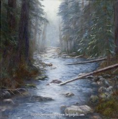 "Paintings by Lori Garfield : South Fork Rogue River, 14"" x 14"" Original Oil Painting of the South Fork of the Rogue River in Oregon, viewed looking upstream, by artist Lori Garfield, Medford Oregon"