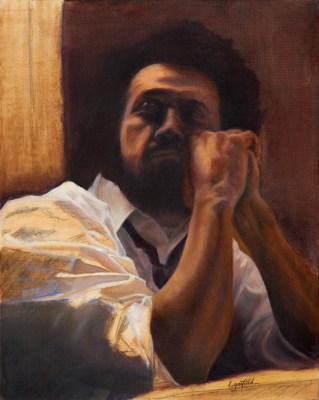 Paintings by Lori Garfield : Jason, Portrait of a man in a white shirt. Original Oil Painting by artist Lori Garfield, Medford Oregon