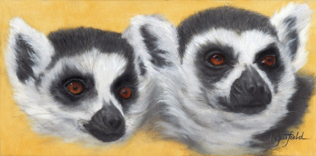 Paintings by Lori Garfield : Lemurs in the Hood, portrait of two lemurs. Original Oil Painting by artist Lori Garfield, Medford Oregon