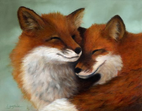 Paintings by Lori Garfield : Little Foxes, portrait of two smiling red foxes. Original Oil Painting by artist Lori Garfield, Medford Oregon