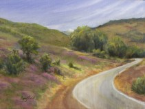 Paintings by Lori Garfield : Vetch on the Green Springs, landscape painting of GreenSprings, near Ashland Oregon, with Mt Pitt Mt McLoughlin in the distance. Original Oil Painting by artist Lori Garfield, Medford Oregon.