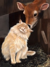 Paintings by Lori Garfield : Barn Cat & Calf, Original Oil Painting by artist Lori Garfield, Medford Oregon