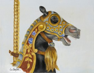 Paintings by Lori Garfield : Dentzel Horse, Original Oil Painting of a carousel horse by artist Lori Garfield, Medford Oregon