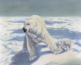 Paintings by Lori Garfield : Ice Bears, painting of a polar bear with two cubs. Original Oil Painting by artist Lori Garfield, Medford Oregon