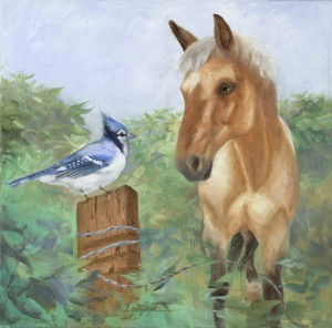 Twitter, painting of a horse and a bird talking together. Original Oil Painting by artist Lori Garfield, Medford Oregon