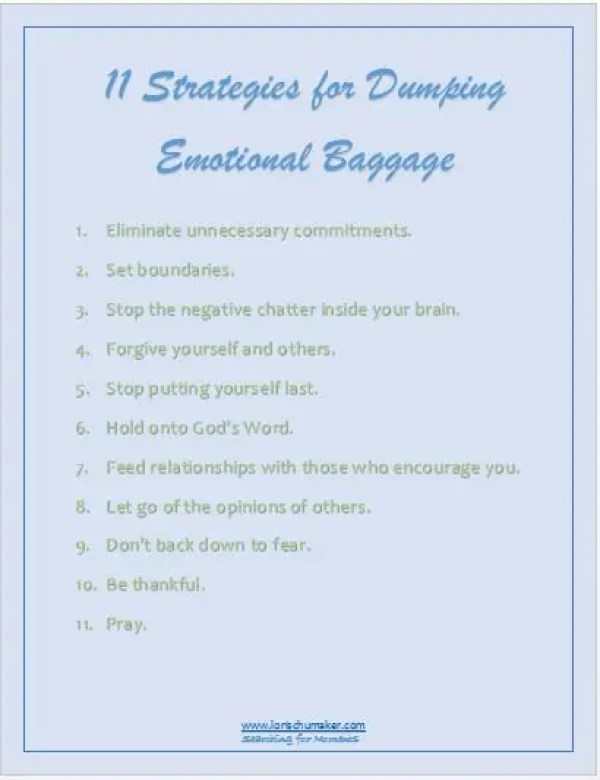 11 Strategies for Dumping Emotional Baggage Printable