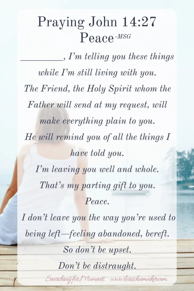 Do you wear peace on the outside well, but feel as though you are unraveling on the inside? Pray John 14-27 as your prayer for peace. -Longing for Daily Peace #Moments of Hope - Lori Schumaker