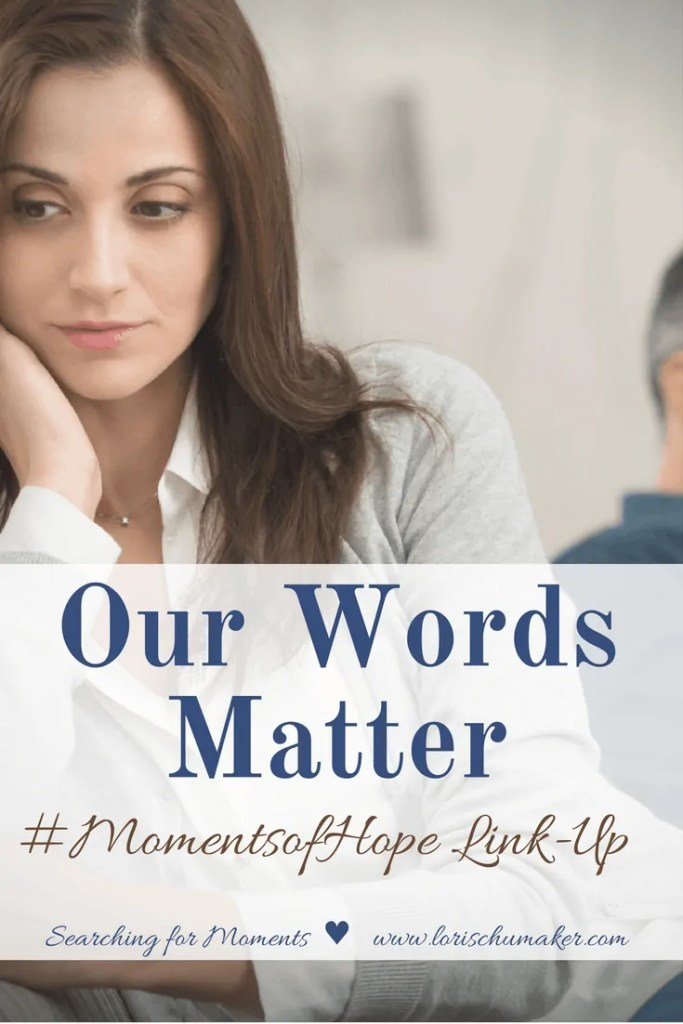 Why do we, as a whole struggle with our words so much? Why do we either bury them deep or blurt out whatever comes to the top of our minds? Why do we not realize how much our words matter and filter them through the lens of speaking truth in love? -Our Words Matter - #MomentsofHope - Searching for Moments - Lori Schumaker