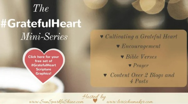 The Grateful Heart Mini-Series by Marva Smith of Sun Sparkle Shine and Lori Schumaker of Searching for Moments - Is your heart not in a place of gratitude right now? Do you need some encouragement? This series offers just that and more! #GratefulHeart