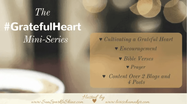 The #GratefulHeart Mini-Series by Marva Smith of Sun Sparkle Shine and Lori Schumaker of Searching for Moments - Is your heart not in a place of gratitude right now? Do you need some encouragement? This series offers just that and more!