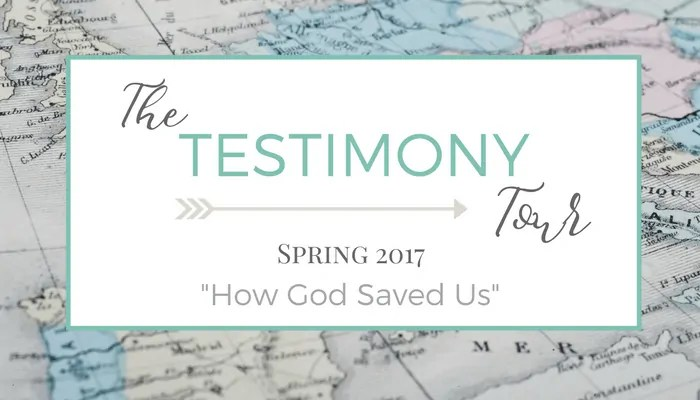 The Testimony Tour - When Knowing about Jesus Just Isn't Enough ~ Join the tour! 5 Days = 10 Testimonies: Sharing the hope found in Christ. His redemption. His grace.